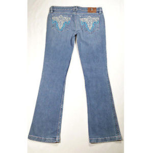 ANTIK DENIM Sz 31 Embroidered Boot Cut Jeans 898E1